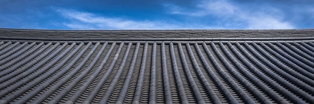 tile roof and a blue sky